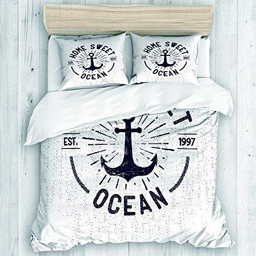 NISENASU Ropa de Cama Funda nórdica,Letras de Sweet Home Ocean en un boceto náutico con Fondo Desgastado,Microfibra Nuevo Conjunto de Tres Piezas de Varios Patrones Personalizados 2 Funda de Almohada