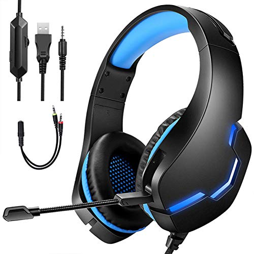 Gaming-Headset mit 7.1 Surround-Sound, 40 mm Lautsprechereinheit, USB PS4s Headset mit Geräuschunterdrückung Mikrofon und LED-Licht, 3,5 mm Klinke, Lautstärkeregler, für PC, PS4s, Xbox One Controller