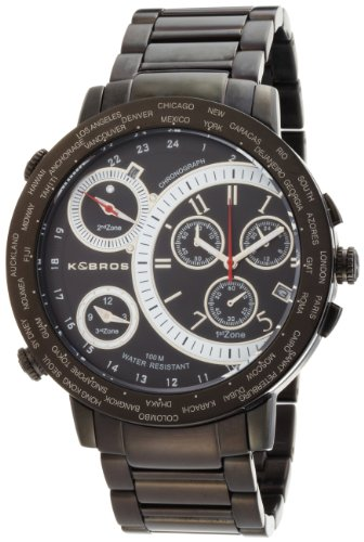 Big Sale Best Cheap Deals K&BROS Men's 9453-1 On The Road 3 Movements Black Ion-Plated Watch