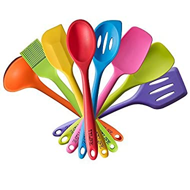 TTLIFE Rainbow Colored Dish Set/Silicone Spatula Utensil Kitchen Colorful 8 Pieces With Turner, Slotted spoon, Ladle, Spoon, Spoon Spatula, Spooula, Spatula, Basting brush for Cooking/Baking/BBQ