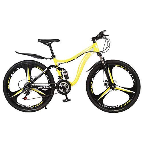 @Y.T Mountainbike, 26-Zoll-21/24/27-Gang-Stoßdämpfer aus Kohlenstoffstahl mit hartem Heck verstellbarem Sitz Doppelscheibenbremsen für Erwachsene Offroad-Fahrrad