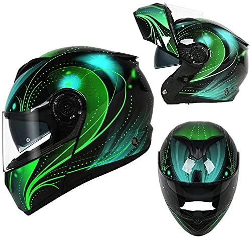 LLDKA Casco Plegable, Casco Modular, máscara Anti-Niebla con Dos Lentes, Compatible con Auriculares Bluetooth Casco de Carreras Plegable (Color : D, Size : XL)