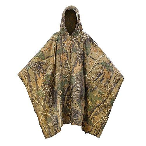 Yosoo Poncho de lluvia de estilo militar, multifuncional, impermeable, de poliéster Ripstop y poliuretano, con bolsillo para la lluvia, protector de lluvia, capa de lluvia (hoja de cuerno)