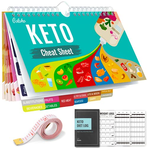 Keto Diet Cheat Sheet Magnets Kit, Magnetic Quick Reference Keto Food List Guide Charts 239 Foods and Swap for Beginners with Keto Tracker Log Macro Carbs Counter Journal Planner, Body Measuring Tape