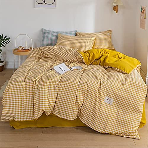 YYSZM Textiles para El Hogar Ropa De Cama A Cuadros Agradable A La Piel Y A La Moda Sencillo Suave Y Cómodo Conjunto De 4 Piezas 180x220cm