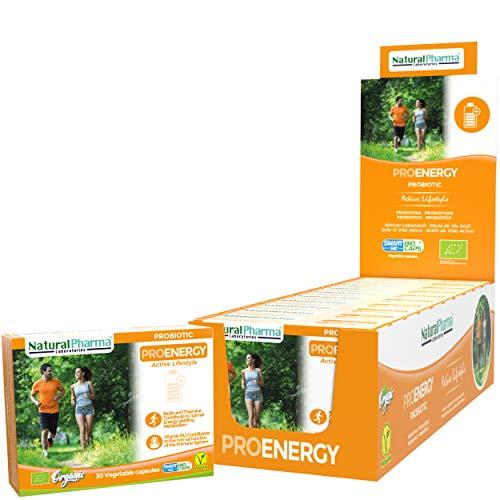 NaturalPharma ProEnergy Probiotic Pack x10. Extra Energy Boost. Vitamin B1 + Vitamin B12 + Biotin. Smart BioCaps Capsules. Organic Certification (Gluten & Lactose Free, Vegan).
