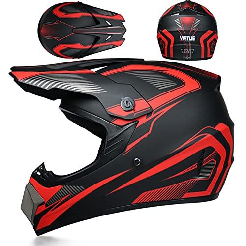 TR-yisheng Casco de Moto de Campo traviesa, Guantes + Gafas + Protector Facial Quad para niños ATV...