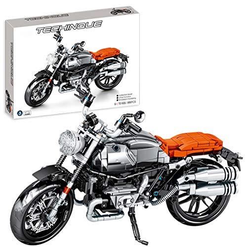 OIURV Technik Motorräder Bausteine B-M-W Latte Motorradmodell, 886 Klemmbausteine Kompatibel mit Lego Technic, Technik Motorrad Bausatz Konstruktionsspielzeug