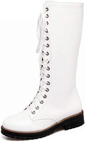 ZHRUI botas para mujer - botas para otoño Invierno Martin botas largas de Encaje botas Gruesas con Botines botas de Moto botas para mujer de Gran tamaño 36-43