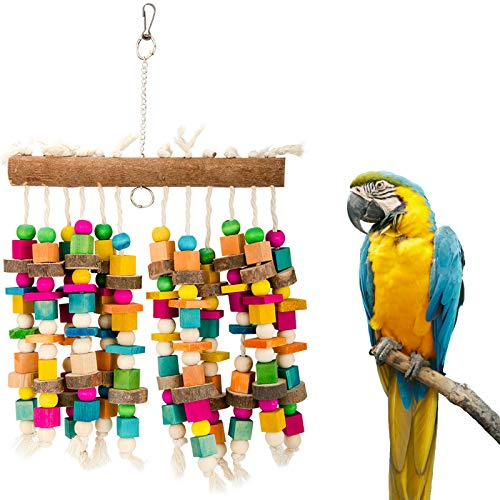 Parrot Chewing Toy with Bells Cage Chewing Toy with Colorful Wood Beads, Multicolored Natural Wooden Block Bite Toys for Macaw African Grey Cockatoo and a Variety of Amazon Parrots (Wooden Block Toy)