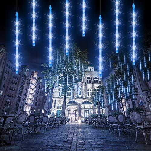 Meteorschauer Regen lichter 30CM, 8 Röhren 192 LED Meteorschauer Lichterkette Außen wasserdicht Lichterkette für Halloween Weihnachten Urlaub Party Zuhause Terrasse Outdoor Dekoration-Blau