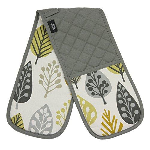 McAlister Textilien Copenhagen Magda doppelter Backofen-Handschuh mit geometrischem Muster in Ockergelb Skandinavischer Stil mit Wärmeisolierung aus Baumwolle