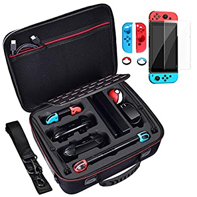 Diocall Deluxe Carrying Case for Nintendo Switch, Accessories Bundle Includes Tempered Glass Screen Protector, Joy-con Silicone Case and Joy-Con Thumb Grips Caps