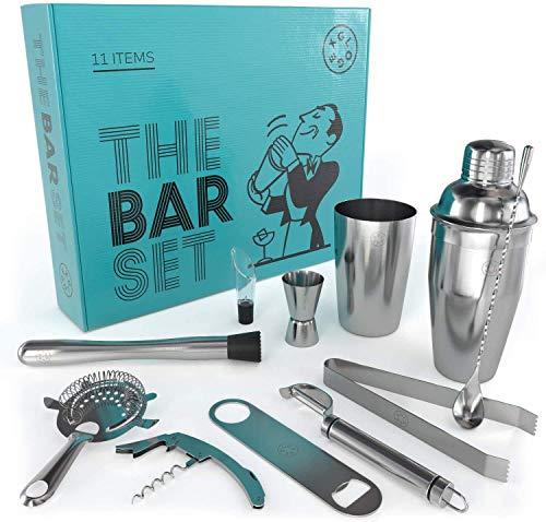 Boston Cocktail Shaker Set Bartender Kit, Home Bar Tools, Set of 11, Mixology Tool Set