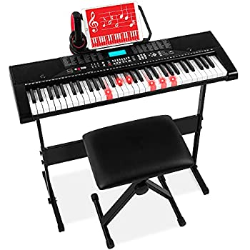 Best Choice Products 61-Key Beginners Complete Electronic Keyboard Piano Set w/Lighted Keys LCD Screen Headphones Stand Bench Teaching Modes Note Stickers Built-In Speakers