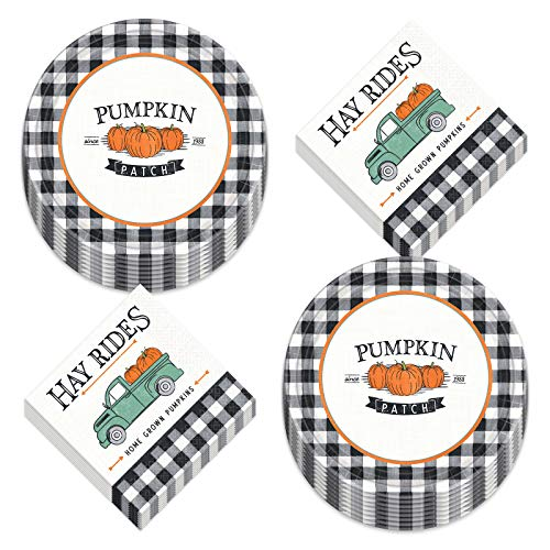 Black and White Buffalo Plaid Pumpkin Truck Fall Harvest Paper Dinner Plates and Lunch Napkins (Serves 16)