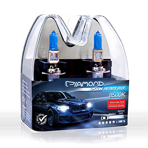 2x H1 12V 100W 8500K Diamond vision Ampoules Alogene Halogene Effet Xenon Effect Look Blue Bleu Blanc White Racicng Vision Anti Erreur Night Breaker Laser Moto