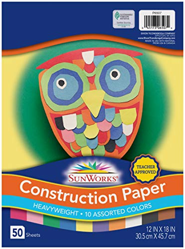SunWorks Construction Paper, 10 Assorted Colors,  12