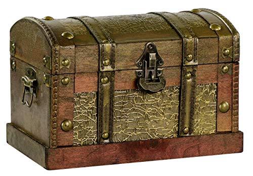 Grinscard Schatztruhe gewölbter Deckel - ca. 24 x 16 x 17 cm, Braun | Schatzkiste als Piratentruhe | Geschenk & Deko