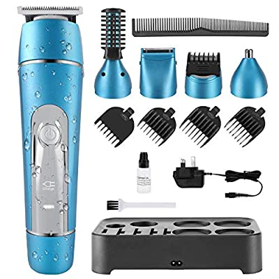Hair Clippers for Men, UOOGOU Beard Trimmer Professional Cordless Hair Clipper Body Groomer Set for Men Electric Hair Trimmer 10 in 1 Haircut with 7 Attachments Waterproof Rechargeable (Blue)