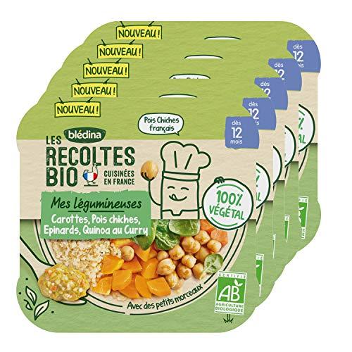 Blédina Les Récoltes Bio, Repas bébé Bio dès 12 Mois, Carottes Pois Chiches Epinards Quinoa au Curry, 230g (Lotx5)