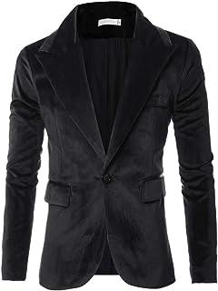 YUPENG Men's Slim Fit Long Sleeve Coat Suit Jacket Autumn Winter Casual Corduroy Suit Jackets ONE Button Retro Blazers for...