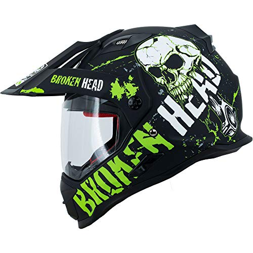 Broken Head Bone Crusher Cross-Helm Grün mit Visier - Enduro-Helm - MX Motocross Helm mit Sonnenblende - Quad-Helm (L 59-60 cm)