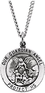 FB Jewels 925 Sterling Silver 22mm Guardian Angel Necklace