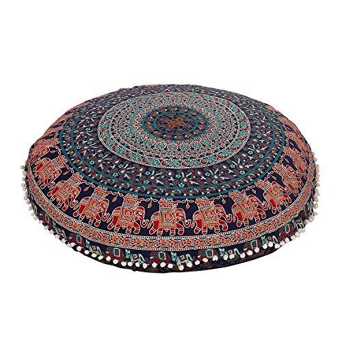 GANESHAM Cojín indio Boho Decor redondo Mandala Tapiz Mandala Hippie redondo Asiento Puf otomano, Mandala almohada de suelo 80 x 80 cm (azul y rojo)