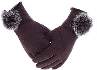 SGJFZD Women's Winter Cashmere Touched Gloves Cashmere Thin Wrist Gloves Warm Rabbit Hair Ball Gloves Windbreak Gloves (Color : Brown, Size : OneSize)