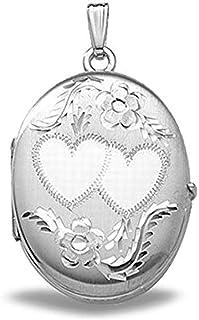 DiamondJewelryNY Sterling Silver Mom Heart Shape Locket with Rose Gold