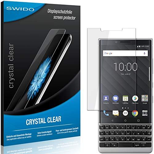 SWIDO Schutzfolie für BlackBerry Key2 LE [2 Stück] Kristall-Klar, Hoher Härtegrad, Schutz vor Öl, Staub und Kratzer/Glasfolie, Displayschutz, Displayschutzfolie, Panzerglas-Folie