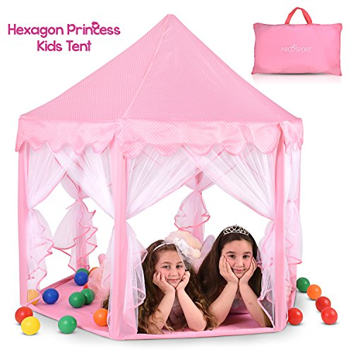 Abco Tech Hexagon Shaped Pink Princess Castle Girls Play Tent with Star Shaped LED Lights