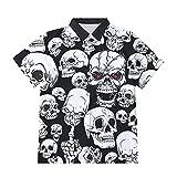 Ocuhiger Camisas con Botones A La Moda para Hombre Camisa Hawaiana De Vacaciones con Calavera Estampada En 3D Blusa De Manga Corta Hip Hop para Vacaciones En La Playa Blusa Negra Y Blanca