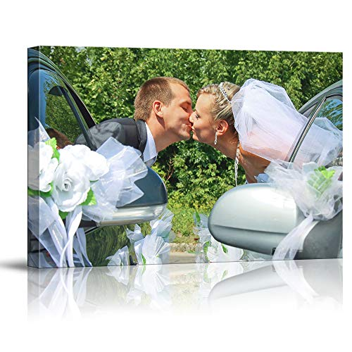 Signwin Personalized Canvas Prints Sweet Kiss Marry Pictures Customize Poster Wall Art with Your Own Pictures Wood Frame Digitally Printed-24x36inches