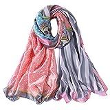 Alberto Cabale Foulard Pois Rayures Foulard Soie Cheveux Hijab Vintage Femme Mode Charme Châle Été Accessoire Réception Rose Gris