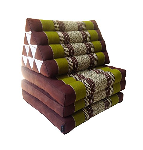 Colchón de meditación tailandés tradicional reclinable, con cojín de respaldo triangular de estilo oriental y fibra kapok para yoga, masajes o relajación, 3 pliegues