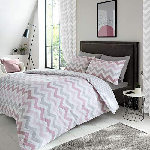 Price Right Home - Juego de funda de edredón sin rellenar, diseño de Chevron geométrico, tamaño King/EE. UU., color rosa y gris