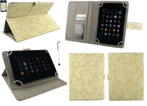 Emartbuy Acer Iconia One B1-850 8 Inch Tablet Universal Range Vintage Floral Beige Multi Angle Executive Folio Wallet Case Cover With Card Slots + White Stylus