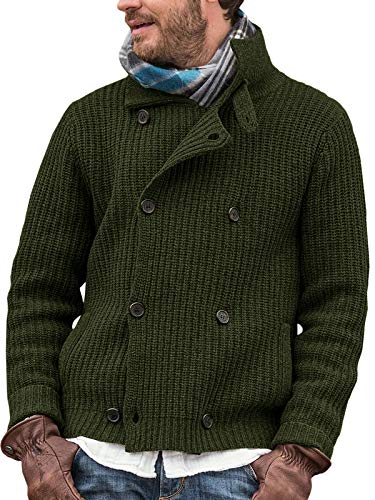 Pretifeel Mens Shawl Collar Cardigan Sweater Chunky Double Breasted Cable Knitted Fall Winter Sweaters Army Green