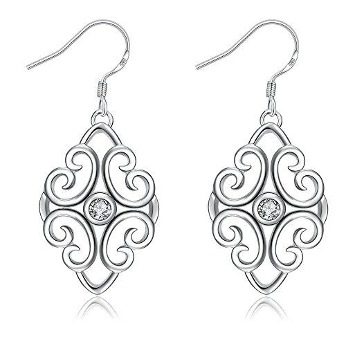 YAZILIND elegante joyer¨ªa elegante dise?o simple plateado de plata hueco de la flor incrustado zirconia pendientes gancho para las mujeres