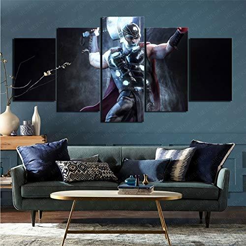 mmkow Cuadro de Lienzo de Pintura Juego de 5 Piezas Comic Thor Arte Enmarcado Dormitorio Decoración del hogar 100x200cm (Marco)