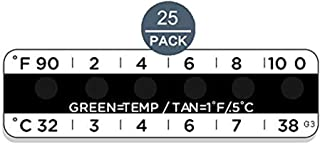 (25 Pack) Temperature Strips for Urine Drug Testing,Measurement Range: 32°C-38°C(not Used as Body Temperature Measuring)