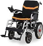 DBXOKK-Wheelchair Silla de Ruedas eléctrica portátil Exclusiva Mejor calificada, Ligera, Plegable, Resistente, reposacabezas Ajustable y batería de polímero de Iones de Litio, Amarillo