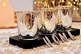 justbelight 3er-Set Glas-Teelichthalter mit Tablett | Zeitlos Schön | Elegante Tischdeko (Silber) - 5