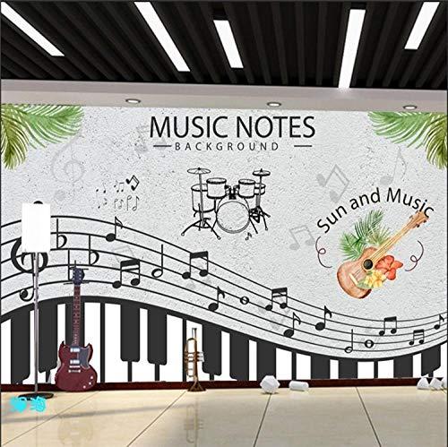 WGBHQ 3D Mural verwijderbaar zelfklevend Wallpaper-Wall Decoration - Classic Music Notes Piano Art Bedroom Restaurant Office Children'S Room Family Living Room Decoration Wallpaper (W)400x(H)280cm