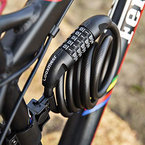 Looxmeer Lucchetto Bici Antifurto per Bici a Cavo con Cilindro di Bloccaggio in Lega di Zinco, Resistente al Taglio, Combinazione a 5 Cifre, Ideale per Biciclette, Casco, Scooter, Cancelli, 180CM