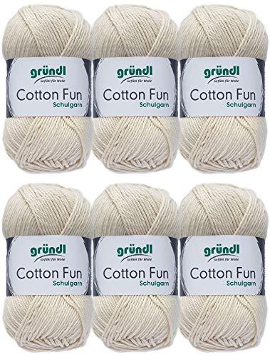 Hdk-Versand Gründl Cotton Fun Wolle Set 6x 50 Gramm Wollweiss 02 aus 100% Baumwolle + 1 Mützenlabel Gratis