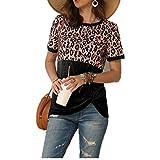 Printemps et été Nouvelle imprimé léopard Couture T-Shirt à Manches Courtes Top Femmes