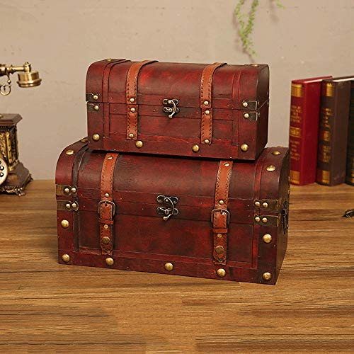 ChengBeautiful Decorative Storage Wooden Chest Trunk Wooden Treasure Stash Box Old-Fashioned Antique Vintage Style For Birthday Parties (Color : Gray, Size : Set of 2)